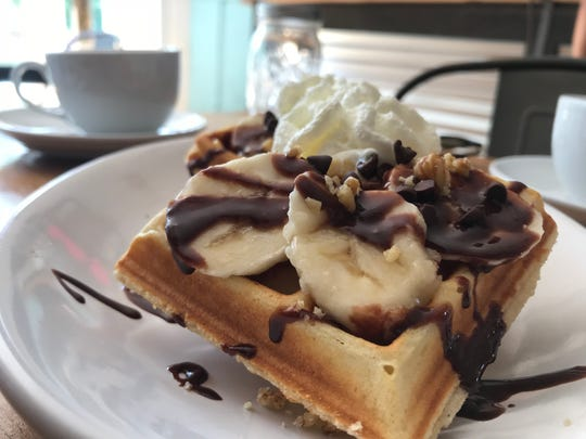 A chocolate and banana waffle from Sweetbakes Cafe in Wappingers Falls.