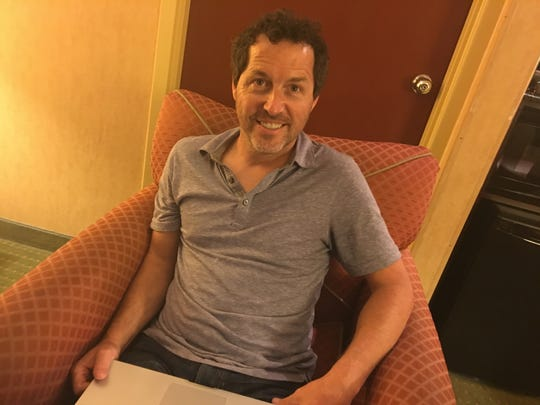 "Fred Ruckel, New York-based inventor of a cat toy, the Ripple Rug, at work on July 17, 2018 in a Springfield hotel room as he and his attorney prepared for a mediation meeting the following day. On March 30, Ruckel sued Springfield-based Opfer Communications, alleging that Opfer was involved in a ""scheme"" to knock off his cat toy."