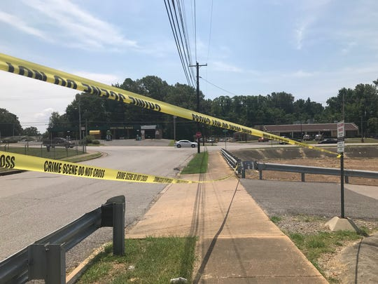 A picture taken Thursday of the scene where the officer-involved shooting took place between DMario Perkins and two Memphis police officers. Perkins was in his Pontiac Wednesday night when the officers pulled him over for an undisclosed traffic violation.