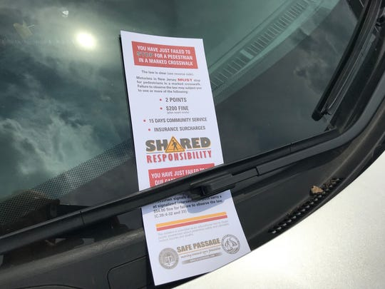 Besides free Slurpees for motorists and pedestrians who obey road-safety laws, Beach Haven police are distributing mock tickets to drivers who fail to make complete stops for those who walk within marked crosswalks.