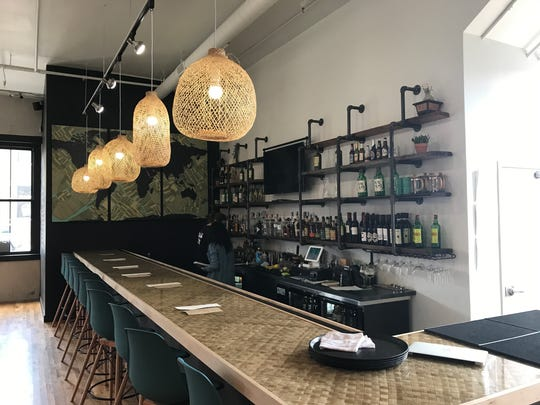 The bar at Dumpling Darling is made from poured resin