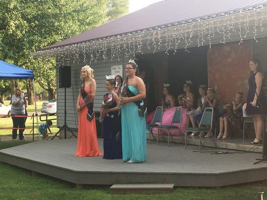 The Junior Miss contestants take the stage for the annual West Lafayette Homecoming.