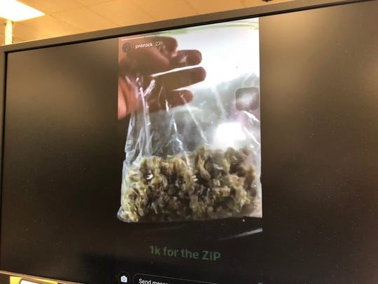 The bag of suspected marijuana that hip hop artist PnB Rock showcased in his July 29 Instagram story post is shown in this screenshot.  PnB posted this before his July 29 concert at the University of Guam Field House.