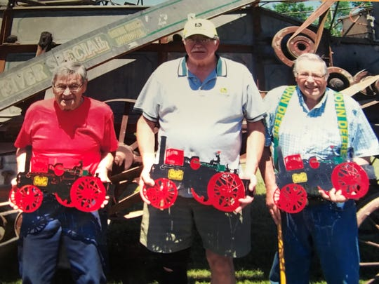 Founding members of the Dodge County Antique Power Club (from left) Bob Frank, Lee Wanie and Don Frank, will be recognized at the 50th anniversary of the organization.