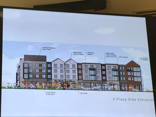 Jerry Simon, an architect for Lessard Design, presented a drawing of what a building will look like on the Mercedes headquarters site if his plan is approved. Simon showed the drawing to the Montvale Planning Board during its meeting on July 30, 2018.