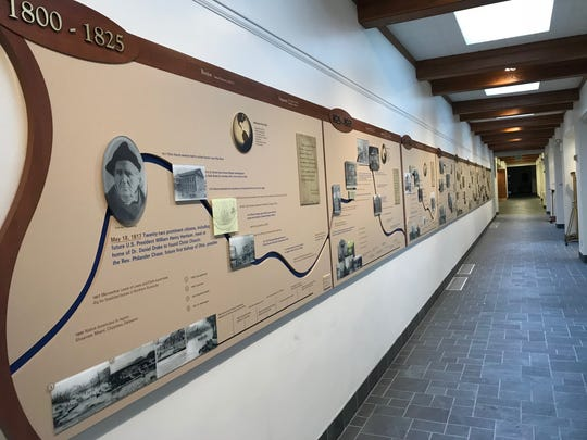 The timeline at Christ Church Cathedral displays the church's 200-year history as it intertwines with Cincinnati history.