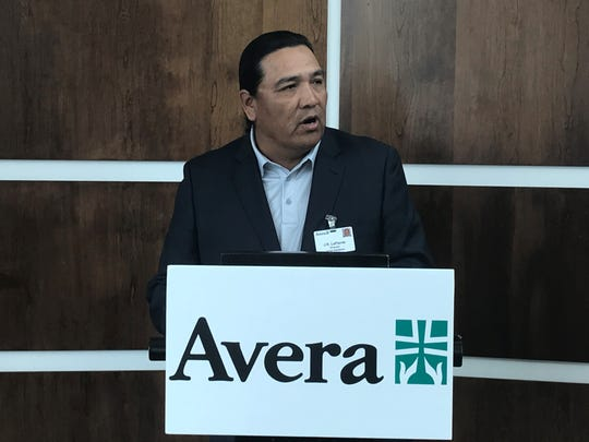 J.R. LaPlante, Avera Director of Tribal Relations, speaks about the first Avera Health American Indian Scholarship program Wednesday at Avera Central Office building.
