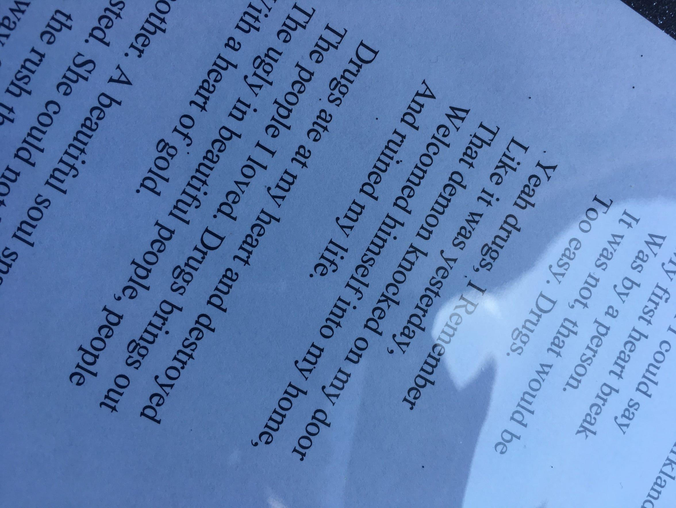 A photo of a poem Davi'Ana Kirkland, a Sparks High