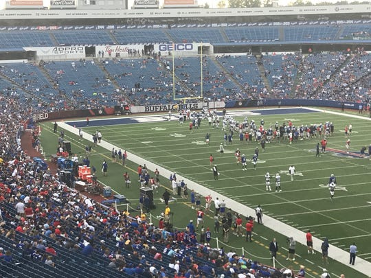 The view from the press box at New Era Field during the Bills' practice Friday night.