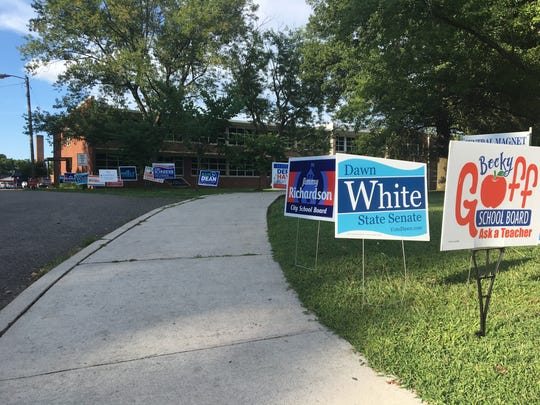 Although the City of Murfreesboro codes department removed some campaign signs outside polling stations on city property, that ordinance was not enforced on county property, as seen in the abundance of signs outside Central Magnet School around 5 p.m. on Aug. 2, 2018.
