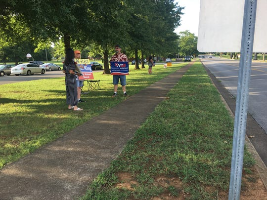 The City of Murfreesboro codes department removed campaign signs outside polling stations on city property around noon on election day. This scene outside MItchell-Nielson Primary was taken at approximately 5 p.m. on Aug. 2, 2018.
