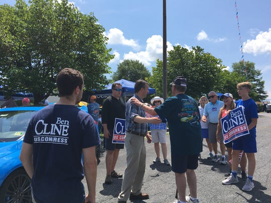 "Ben Cline, Republican nominee for the 6th district of Virginia congressional seat, greets voters at a car show during his ""Summer of the Walk"" tour in Staunton."