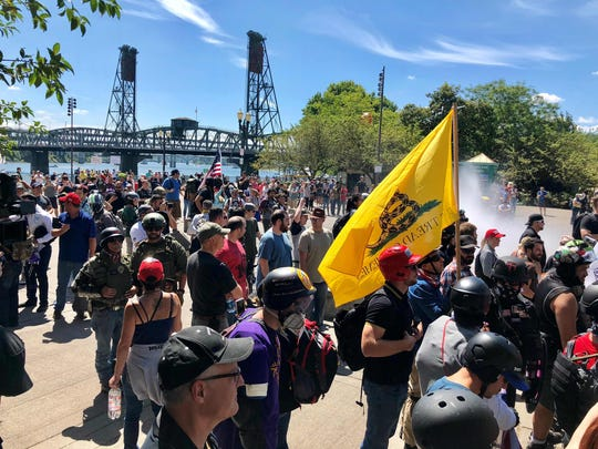 Thousands gather for a rally by two far-right groups on Aug. 4 in Portland, Oregon.