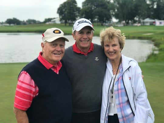 Jerry Pate, center, is joined by Jack and Barbara Nicklaus after their team won Saturday's Greats of Golf Challenge at the 3M Championship in Blaine, Minn. Photo by Scott Tolley/Nicklaus Companies