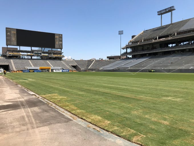 A view of Sun Devil Stadium with the newly laid sod