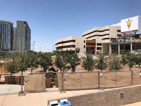 A view of the plaza on the southeast side of Sun Devil