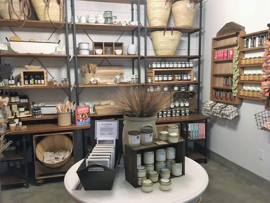 In a nook at FARMesilla shoppers can browse soaps and other bath products among other gift items.