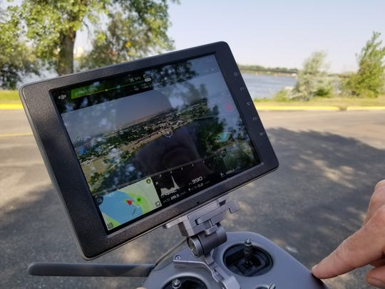 The 4K camera presents a clear aerial view on the drone's