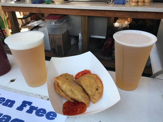 Pickle Beer and the Duck Bacon Wontons from The Bird's