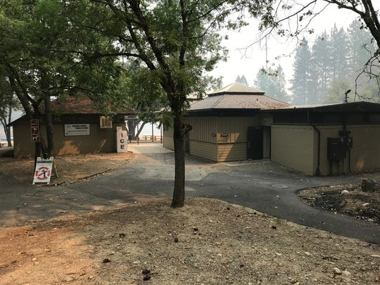 As seen in August 2018, much of the facilities were left standing at Brandy Creek Beach after the Carr Fire burned through Whiskeytown National Recreation Area.