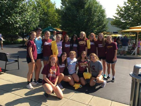 Coach Gail Maundrell's Turpin girls tennis team visited