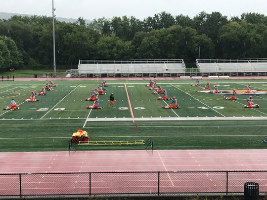 Union-Endicott's high school football team practiced for the first time this season at Ty Cobb Stadium in Endicott.