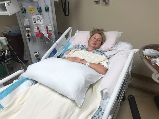 Tammy Barrett, an Austin Police Department officer and former Fort Bliss soldier, recovers from major spinal surgery Monday at University Medical Center of El Paso.
