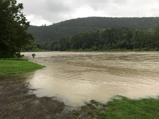 Heavy rains caused the Chemung River level to rise