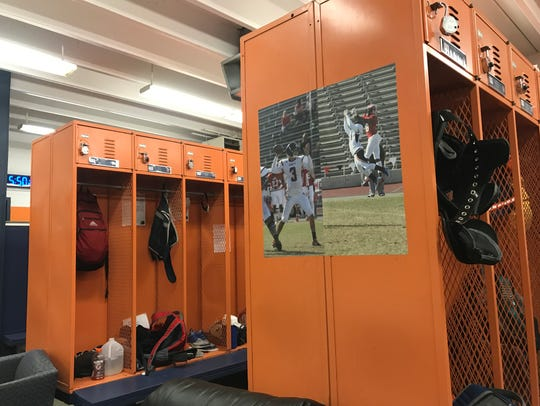 The College of the Sequoias' football team locker room