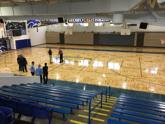The new floor from above at the dedication of Newport Central Catholic's new gymnasium floor August 20, 2018.