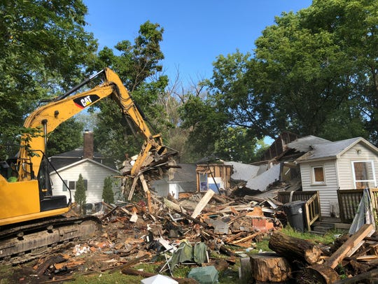 About two hours after demolition of the house at 816