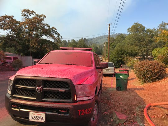 Air tankers made several drops in the area of Toyon