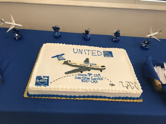 A cake welcoming the new service to LAX was served