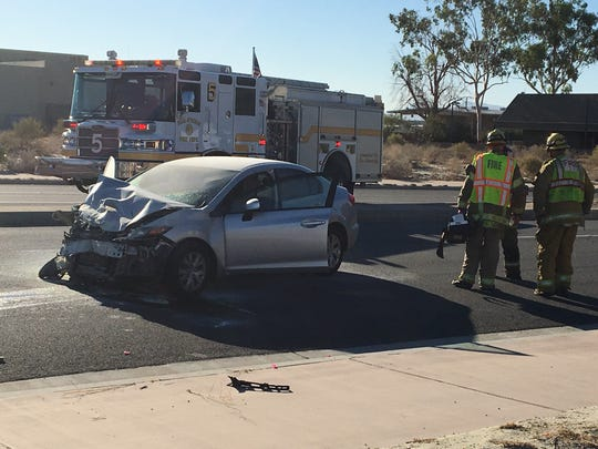 A Honda Civic caught fire Wednesday in a multi-vehicle collision at Gene Autry Trail and Sunny Dunes Road in Palm Springs. Four people were injured, including a child.
