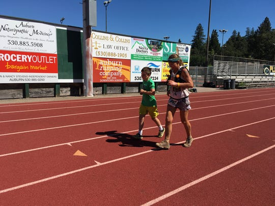 Constance Wannamaker finishes the Western States 100 Mile Endurance run with her fifth-grade son Benjamin in late June.
