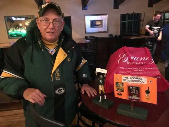 """Steve Johnson, reps the Green Bay Packers at Sky Bar at Saints Pizza Pub. His area is known as """"Mr. Rodgers' Neighborhood,"""" a nod to Packers quarterback Aaron Rodgers."""