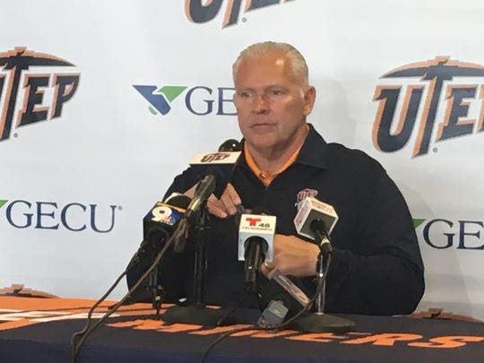 UTEP head football coach Dana Dimel prepares to speak at a news conference in November 2018.