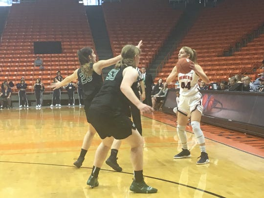 Katarina Zec passes the ball during UTEP's game with Portland State on Sunday.