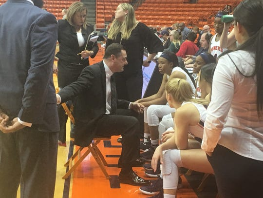Kevin Baker instructs his team during UTEP's recent