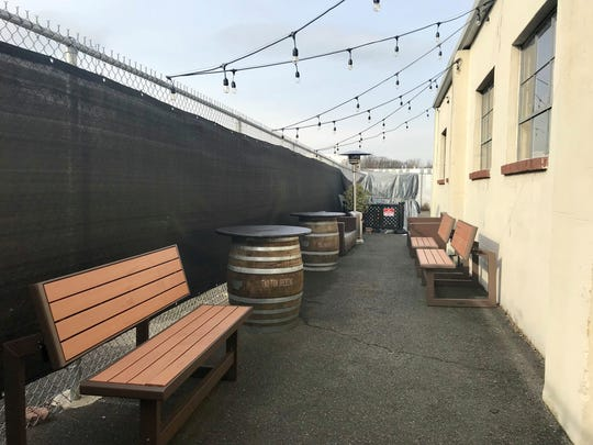 The outdoor biergarten at Two Ton Brewing.