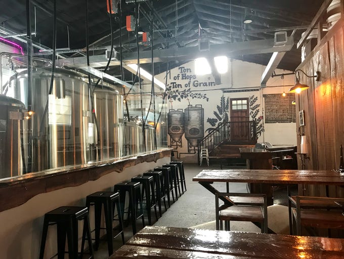 Inside the Two Ton Brewing taproom.