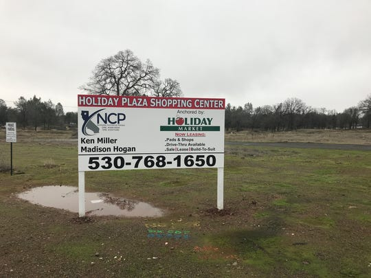 A for-lease sign sits on a vacant lot at Shasta View