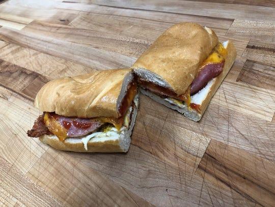 The Big Breakfast: pork roll, bacon, sausage, cheddar,
