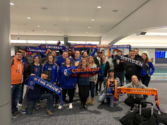 FC Cincinnati fans take over Cincinnati/Northern Kentucky International Airport on March 1. 2019 as they prepare to fly to Seattle for FC Cincinnati's first Major League Soccer game.