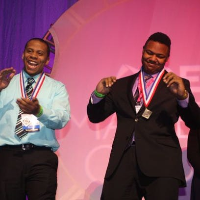 Students celebrate during the Michigan DECA state conference in March. Several students from Livingston County took part in this competition. Hartland students advanced and were top finalists at the International Career Conference.