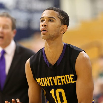 Montverde's Howard Washington #10 in action against St. Benedict's Prep during a high school basketball game on Saturday, Feb. 14, 2015, in Kean, NJ. (AP Photo/Gregory Payan)