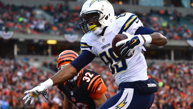 Chargers TE Ladarius Green hauls in a second-half TD in Cincinnati on Sunday.
