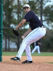 Detroit Tigers pitcher Alex Faedo took the mound for the first time facing major league hitters during spring training Feb. 20, 2018 at Joker Marchant Stadium in Lakeland, Fla.