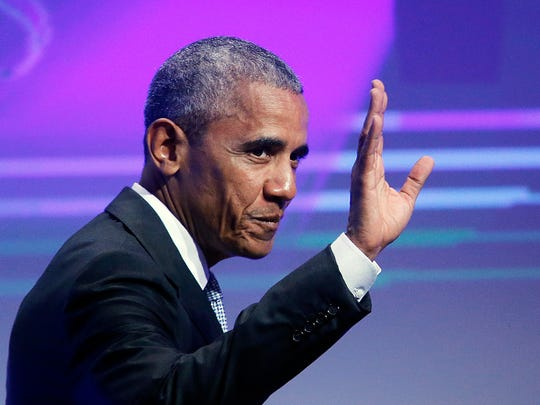 Obama waves before he is awarded the German Media Prize in Baden-Baden, Germany, on May 25, 2017.