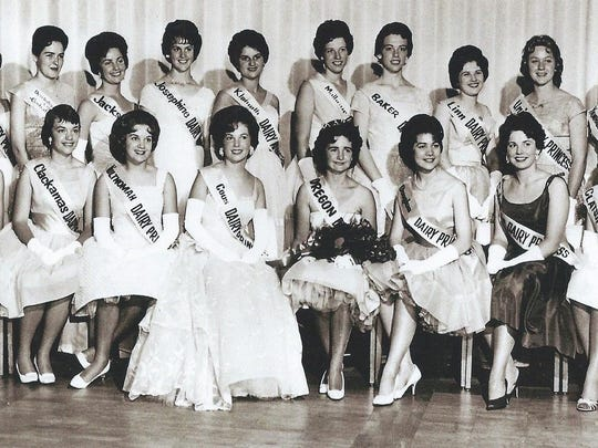 Oregon Dairy Princesses representing 21 counties in 1962 in a photo provided by one of the princesses at a reunion this past summer during the Oregon State Fair.